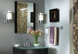 bathroom vanity with lights from one light chrome wall sconces beside bathroom mirror full bathroom sconce lighting modern