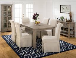 dining table parson chairs interior: slater mill pine slipcover skirted parson chair with linen look belfort furniture dining side chair