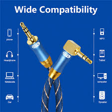 EMK 90 Degree right angle <b>3.5mm</b> AUX Audio Cable <b>Male to Male</b> ...