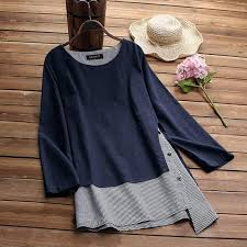 Womens Fake 2 Pieces Blouse <b>2019 Autumn Long Sleeve</b> ...