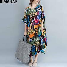 <b>DIMANAF Women</b> Dress <b>Plus Size</b> Summer Pattern Print Linen ...