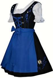 Blue German Dirndl <b>Dress</b> Waitress <b>Oktoberfest Party</b> Short ...