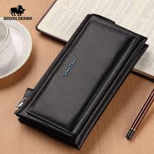 <b>BISON DENIM Cow Leather</b> Men Long Wallet Soft Luxury Brand ...