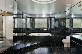 bathroom designs luxurious: huge luxury all black bathroom with sunken bath tub