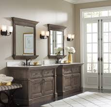 shabby chic ash wooden double bathroom vanities designs with wall mount mirror frames and floating oil bathroom lighting ideas square wall mounted
