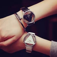 <b>Minimalist fashion</b> trend of EXO triangular <b>hollow</b> wrist watch <b>Korean</b> ...