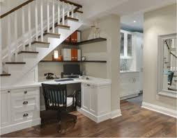 interior design awesome white concrete staircase with stylish stunning space saving railing and brown banister raiser area homeoffice homeoffice interiordesign understair