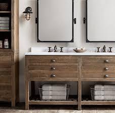 washstand bathroom pine: antiqued pine finish restoration hardware printmakers double vanity sink