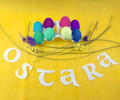 Picture For Ostara Celebration. Colorful Eggs And Flowers. Stock ...