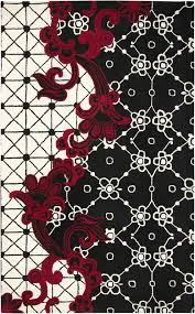rizzy area rug fusion collection fn1447 black white red black white rug home