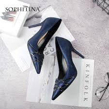 SOPHITINA Wedding Shoes Fashion Red Genuine Leather <b>Pointed</b> ...