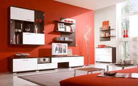Red Wall Living Room Decorating Amazing Of Contemporary Living Room Decor Red Wall Interi 1697