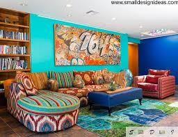 eclectic living room design ideas bright coloured furniture