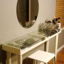 vanity shelves built custom glass top makeup vanity table with makeup storage and shelves p