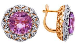 <b>Серьги</b> из красного золота с <b>бриллиантами</b> и <b>аметистами</b>, арт ...