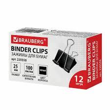 Купить <b>Зажимы для бумаг</b> BRAUBERG, КОМПЛЕКТ 12 шт., 25 мм ...