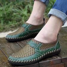Comfortable <b>Summer</b> Men Shoes Breathable <b>Genuine Leather</b> ...
