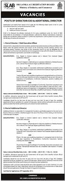 director chief executive officer additional director sri vacancy for director chief executive officer additional director sri lanka accreditation board ministry of industry and commerce