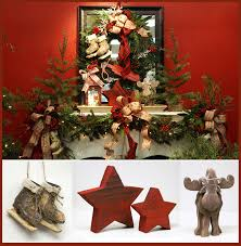 cabin decor lodge sled: red chunky stars wooden moose carved wood skates rustic mini trees red plaid ribbons firefly lights