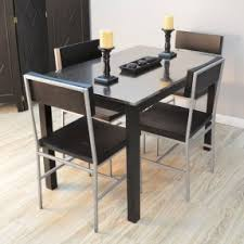 metal dining room chairs chrome:  chairs chrome stainless steel dining room table rectangular glass top solid square four legs black stained wooden material