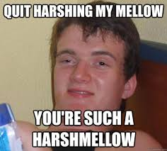 Quit harshing my mellow You're such a harshmellow - 10 Guy - quickmeme via Relatably.com