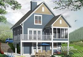 House plan W  V detail from DrummondHousePlans comRear view   BASE MODEL Screened porch cottage house plan  walkout basement open floor plan