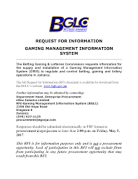 betting gaming and lotteries commission regulating facilitating please click on the link below to view the request for information for the gaming management information system the document can also be viewed in the