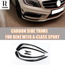 <b>W176 Carbon Fiber Front</b> Bumper Side Canards Splitter Spoiler for ...