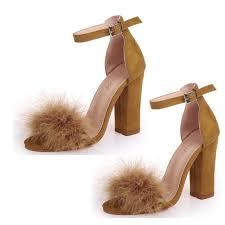 Online Shop <b>LIN KING Big Size</b> Cute Faux Fur High Heel Women's ...