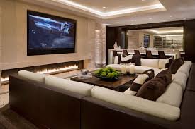 large ribbon fireplace family room contemporary amazing ideas with recessed lighting long fireplace amazing family room lighting ideas