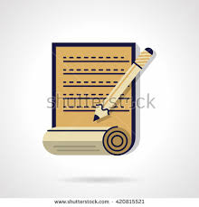 essay writing stock photos royalty free images amp vectors  unfolded paper roll with essay and pencil copywriting elements digital marketing and writing articles