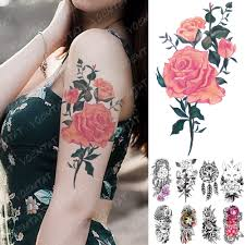 Waterproof Temporary Tattoo Sticker Rose Line Flower Lace Flash ...