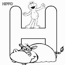 Small Picture ABC letter H Hippo Sesame Street Elmo coloring page Elmo party