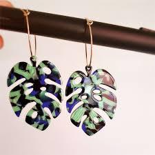 VIVILADY Bohemian Green <b>Monstera Leaf</b> Hoop Earrings Acrylic ...