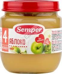 Фруктовое <b>пюре Semper яблоко</b>, с 4 месяцев, 125 г — Едадил