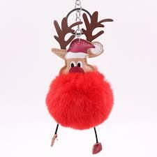 New Plush <b>Elk</b> Pendants Keyring <b>Keychain</b> Pompom Reindeer <b>Fur</b> ...