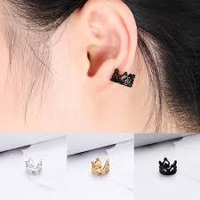 1pair <b>Punk</b> Rock Crystal Crown <b>U shaped</b> Ear Earrings Fashion ...