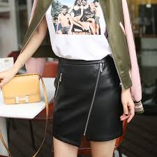 Short skirt <b>sheepskin</b> irregular oblique zipper genuine <b>leather skirt</b> ...
