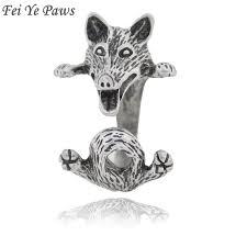 Fei Ye Paws <b>Boho Fox</b> Dog Puppy Animal Wrap Ring Men Jewelry ...