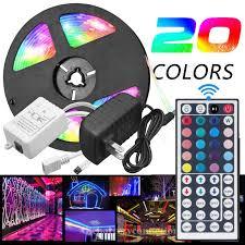 Vlight <b>5M</b> RGB 5050 <b>Waterproof LED Strip</b> light SMD 44 Key ...