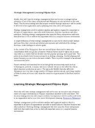 strategic management learning filipino style turnover strategic management learning filipino style turnover employment strategic management