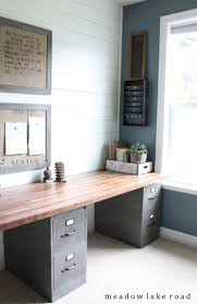 clean and functional office with an industrial rustic look labor junction home improvement build rustic office desk