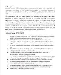 assistant internal auditor job description internal auditors job description