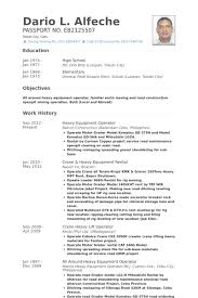 heavy equipment operator resume samples sample resume heavy equipment operator