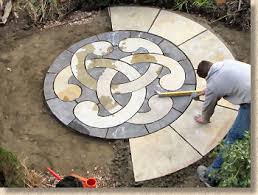 circle patio paving kit mm the laying process continues completing first semi circle