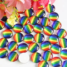 <b>10 Pcs</b> 12mm Rainbow LGBT Round <b>Glass</b> Cabochon Flatback ...