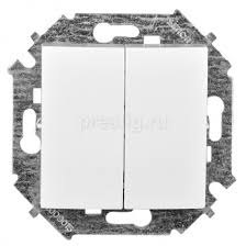 <b>Выключатель</b> Simon 15 Белый <b>двухклавишный Без</b> рамки ...