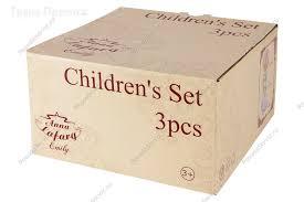 <b>Детский</b> набор посуды <b>3</b> предмета из костяного фарфора в ...