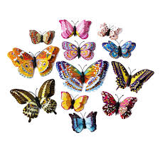 <b>12pcs 3D Luminous Double</b> wings Butterfly Sticker Art Decal Home ...