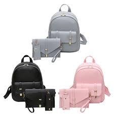 PU Leather Women <b>Backpack</b> Girls Solid <b>Shoulder Mini Backpack</b> ...
